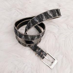 Elite Beaded Leather Belt